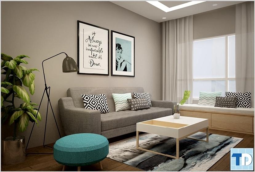 Phòng khách nhìn từ phía đông với gam màu xám