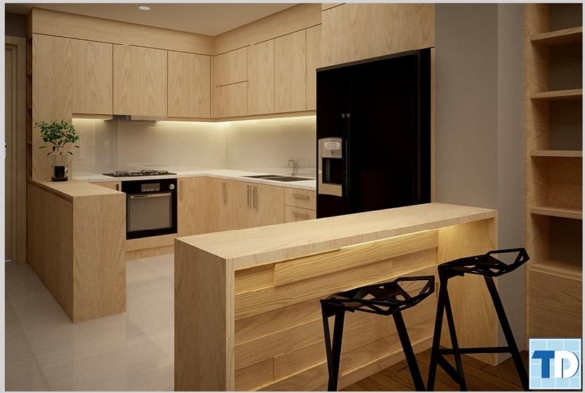 Không gian bếp với thiết kế đơn giản