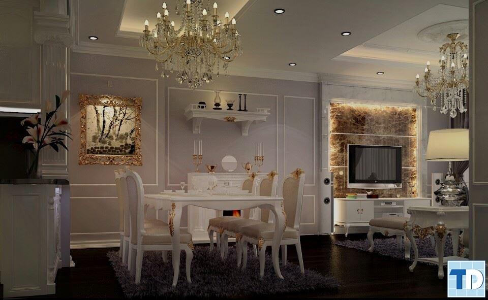 Không gian phòng khách nối liền phòng ăn