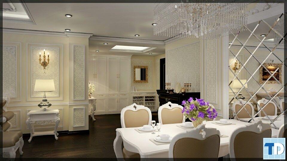 Phòng ăn sang trọng với tôngmàu trắng chủ đạo