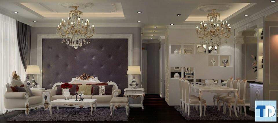 Góc nhìn chính diện phòng khách và phòng ăn