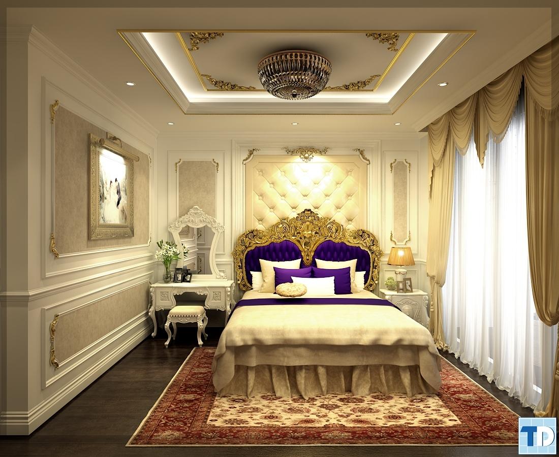 Phòng ngủ cũng được thiết kế như một dinh biệt thự quý tộc