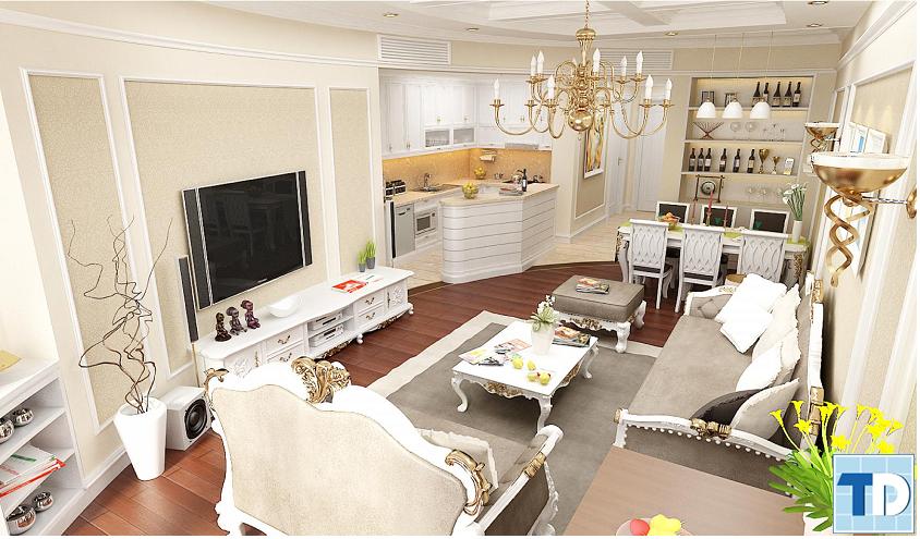 Phòng khách được thiết kế theo phong cách tân cổ điển