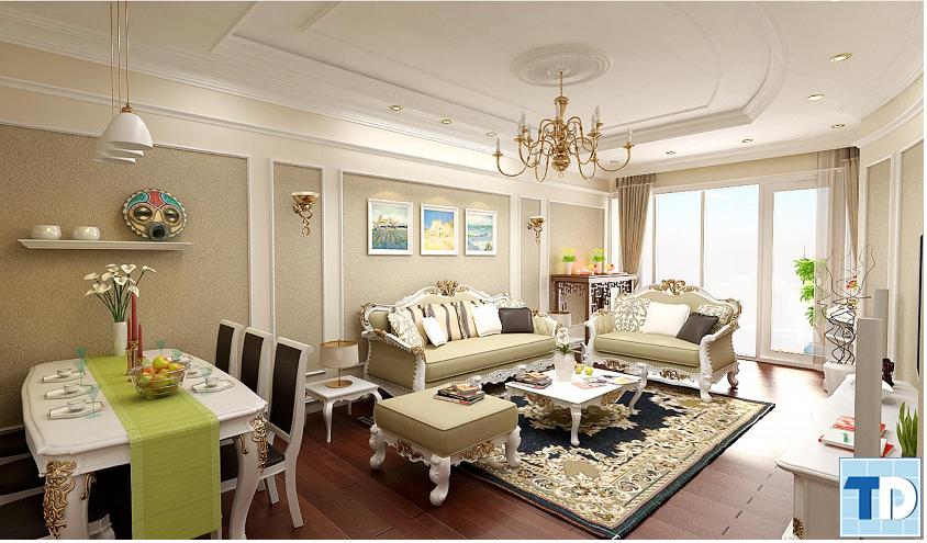 Phòng khách trở nên sang trọng với ánh vàng