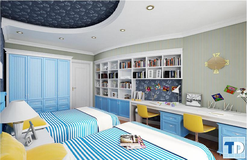 Phòng ngủ đôi xanh dịu nhẹ