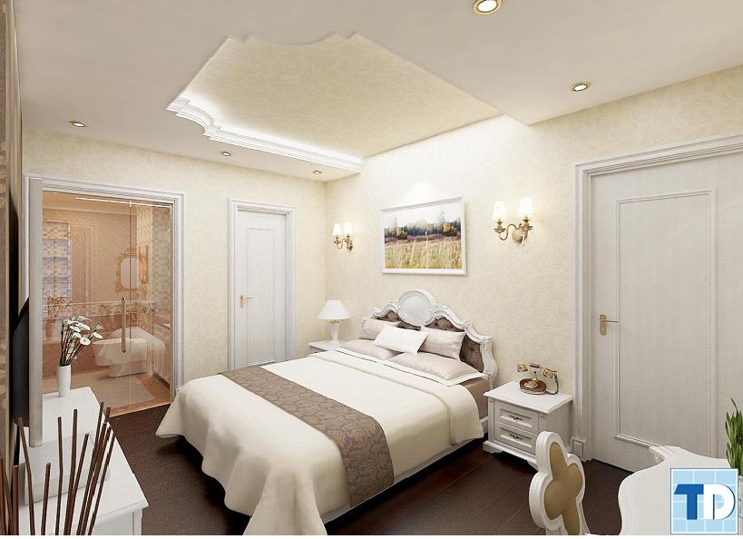 phòng ngủ lung linh với sắc vàng
