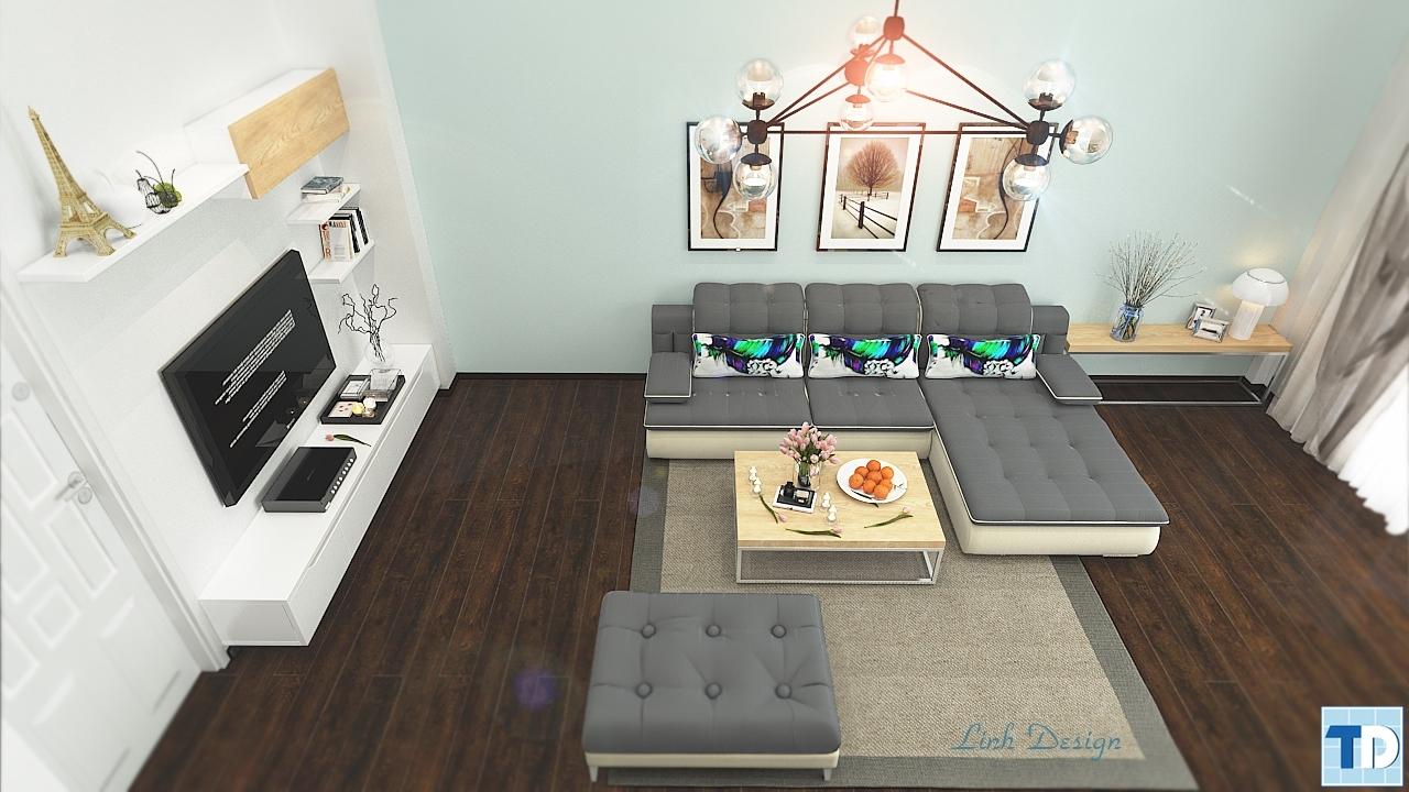 Hình ảnh trực diện không gian phòng khách