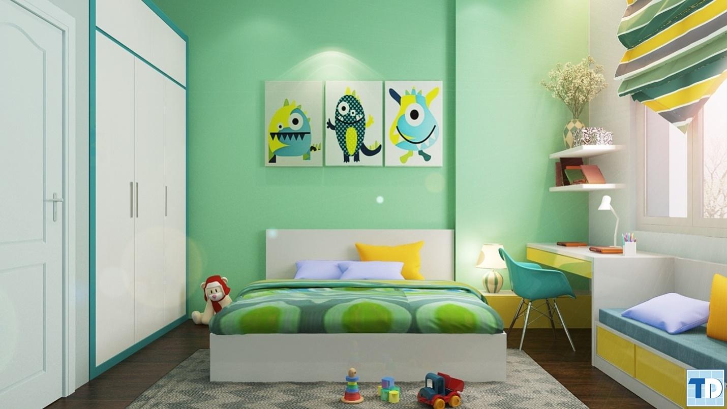 Phòng ngủ ngộ nghĩnh nhiều màu sắc