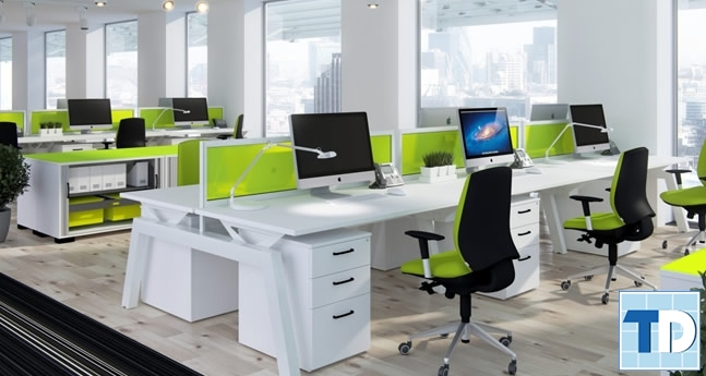Văn phòng với gam màu trắng vàng sáng mới mẻ