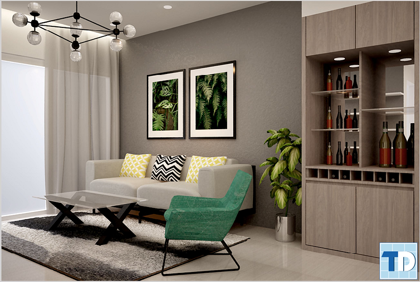 Phòng khách căn hộN1012 Khu chung cư cao cấp Vinhomes 56 Nguyễn Chí Thanh
