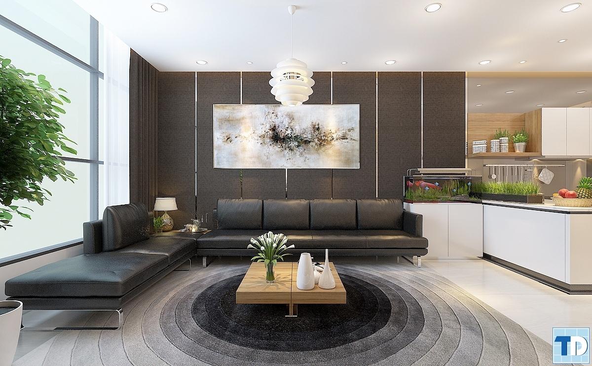 Phòng khách căn hộA3704 Khu chung cư cao cấp Thăng Long Number One