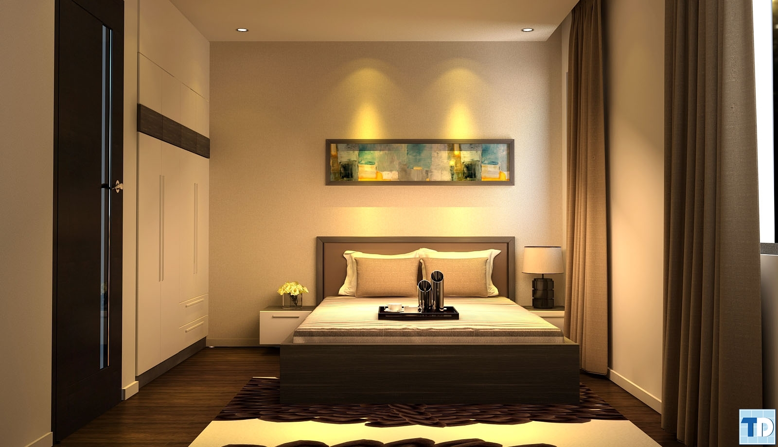 Phòng ngủ sang trọng với ánh vàng kim