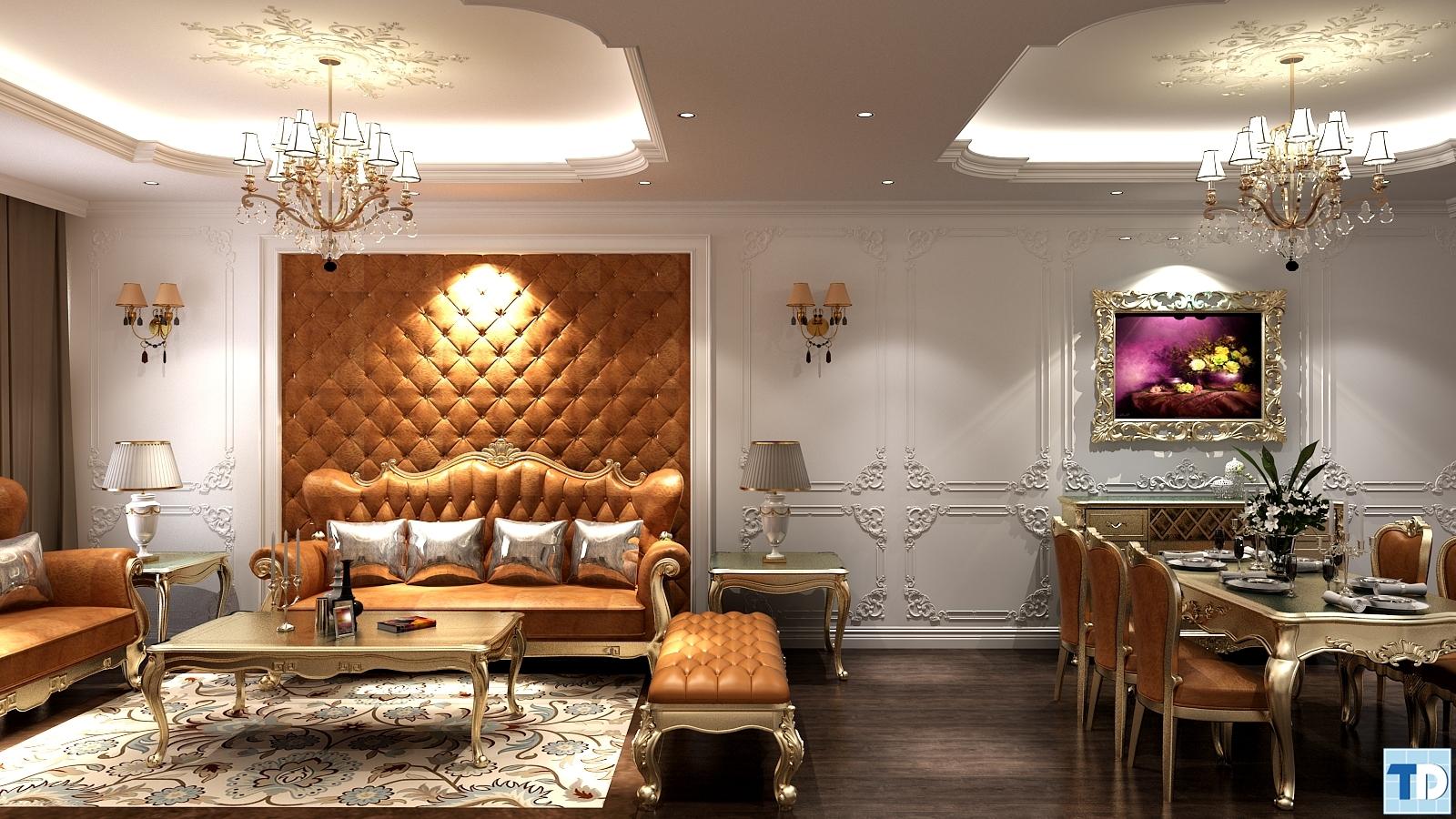 Phòng ăn tân cổ điển nối liền phòng khách