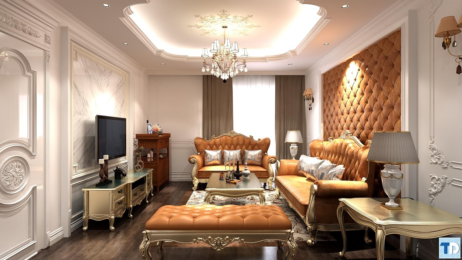 Phòng khách với tone màu đồng