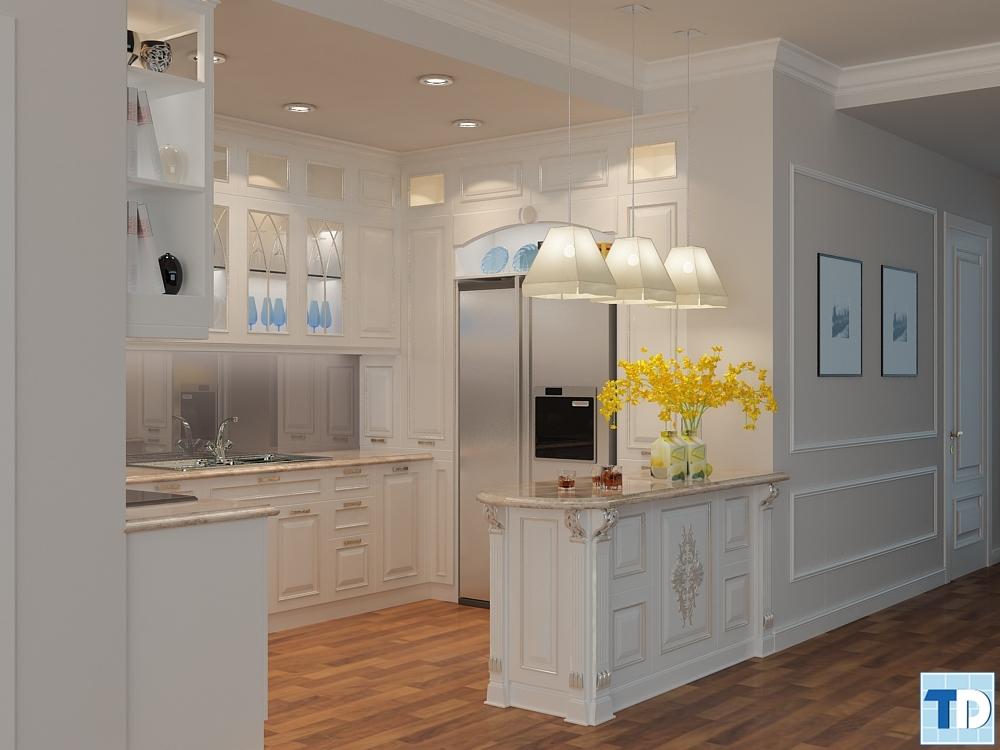 Thiết kế nội thất tủ bếp tân cổ điển