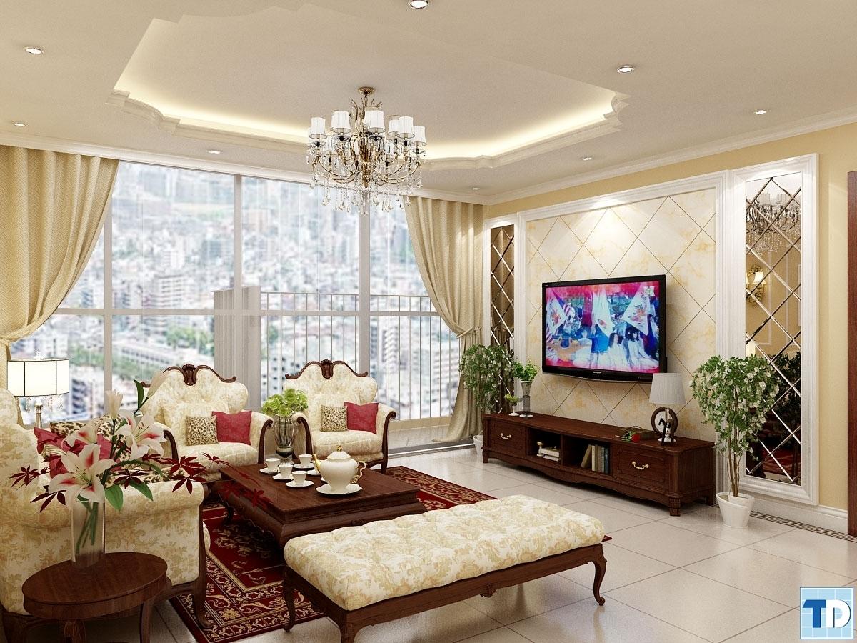 Phòng khách với các món đồ nội thất cao cấp