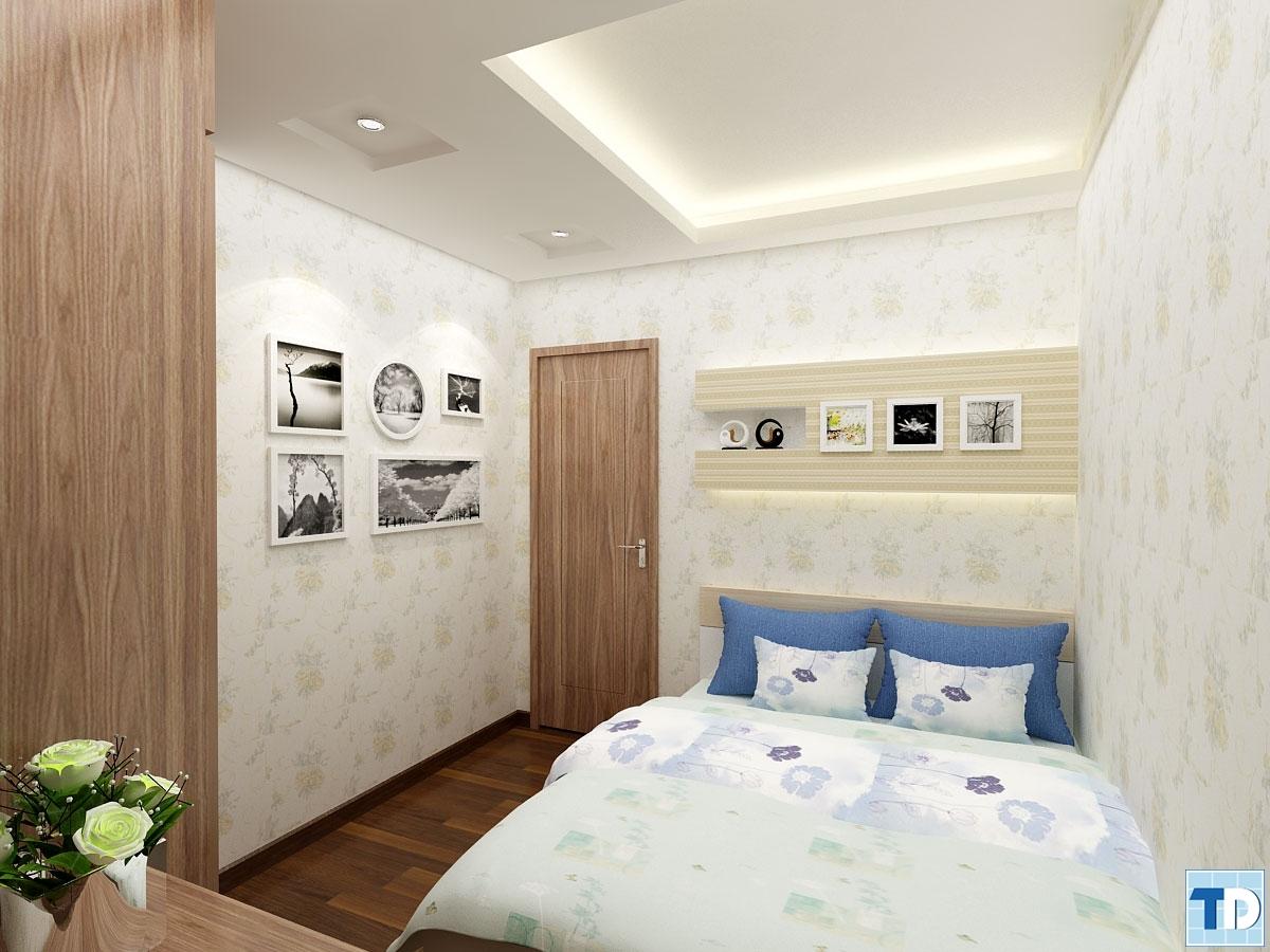 Phòng ngủ trang trã với nội thất sáng màu