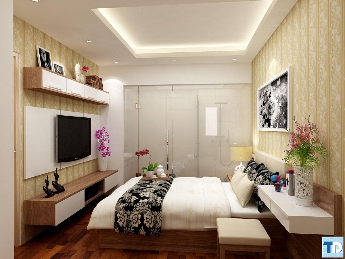Phòng ngủ với tone màu đen trắng nổi bật
