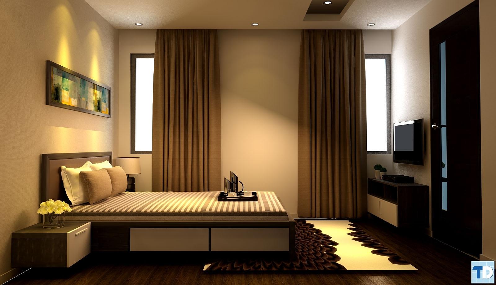 Phòng ngủ đẹp mắt với sàn gỗ nâu óc chó