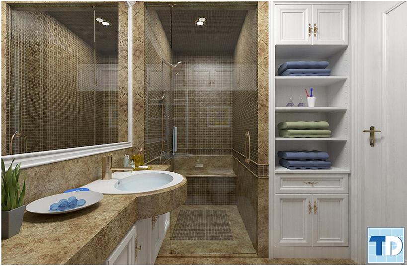 Phòng tắm kết hợp tủ hiện đại