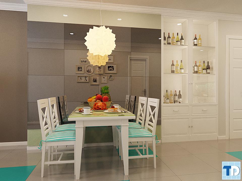Phòng ăn tân cổ điển tối giản