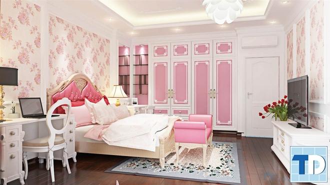 Phòng ngủ với gam màu hồng lãng mạn