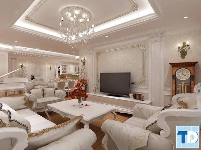 Phòng khách tân cổ điển trang nhã với gam màu trắng