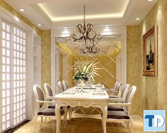 Phòng ăn tinh tế, ấm áp với tone màu vàng sang trọng