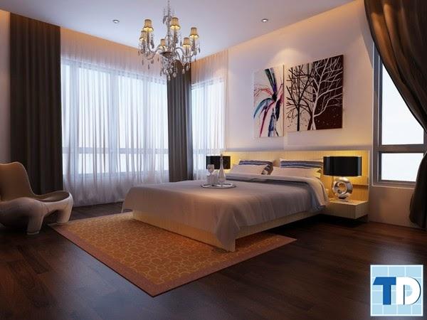 Phòng ngủ tinh tế với gam màu tối ấm áp