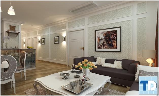 Phòng khách tân cổ điển trang nhã với gam trắng tím nhẹ