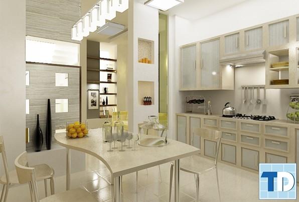 Phòng ăn và bếp nhà cấp 4 tiện nghi hiện đại