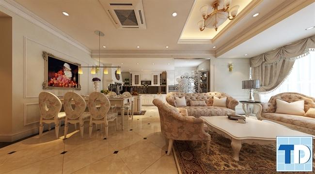 Ấn tượng với nội thất nhà tân cổ điển đẹp lộng lẫy