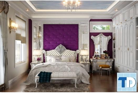 Phòng ngủ master với gam trắng tím
