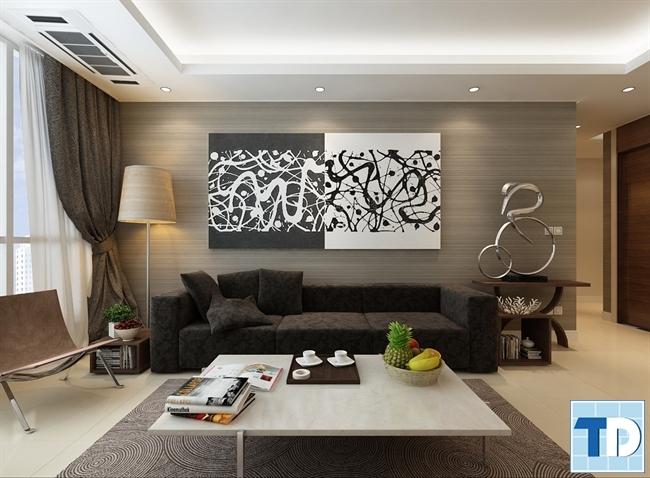 Phòng khách căn hộ 100m2 hiện đại