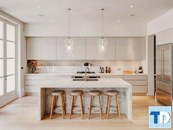 Phòng bếp với màu trắng chủ đạo