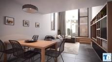Thiết kế nội thất chung cư 65m2 với gỗ óc chó tinh tế