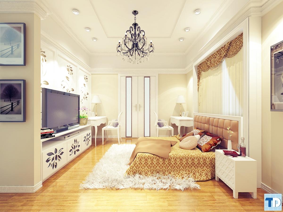 Phòng ngủ tân cổ điển với gam trắng chủ đạo