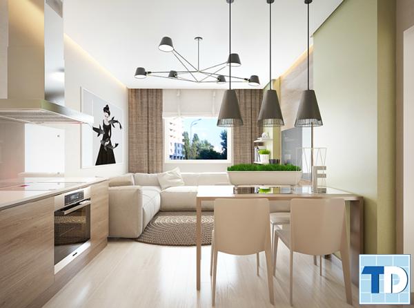 Không gian nội thất chung cư nhỏ thoáng đãng, rộng rãi