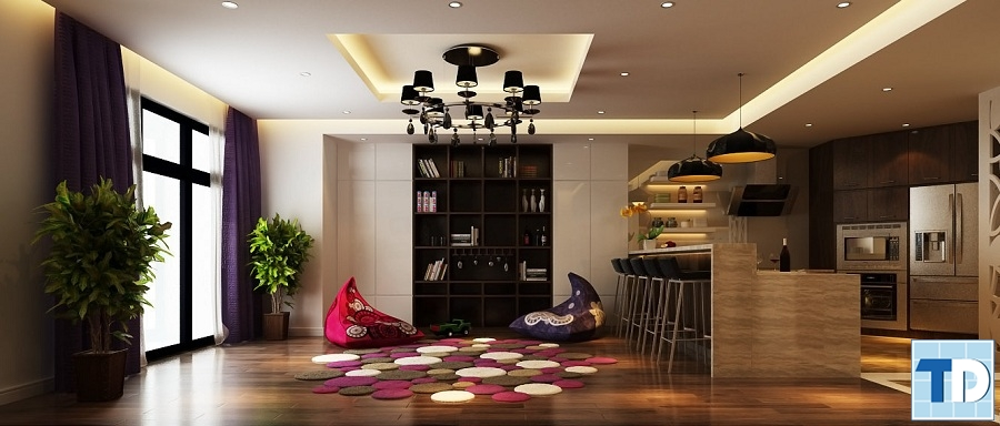 Phòng khách tối màu lịch lãm