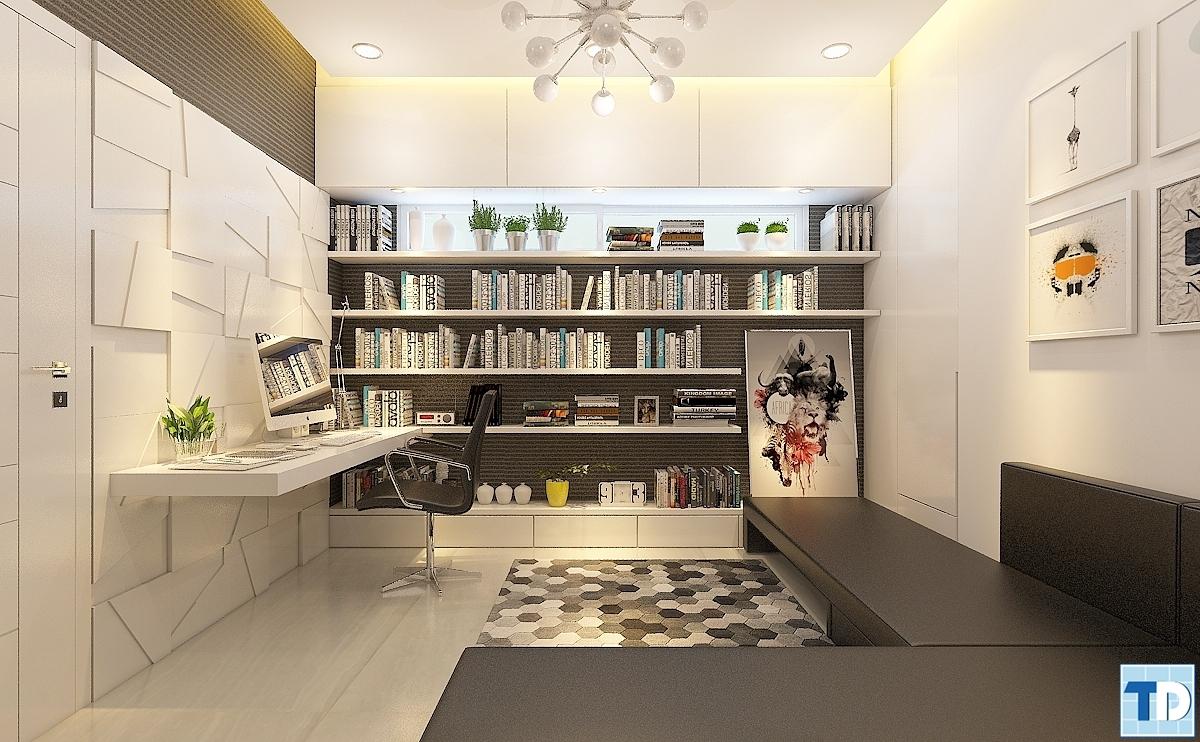 Chiếc bàn làm việc sang trọng hiện đại,tủ sách gọn gàng ngăn nắp