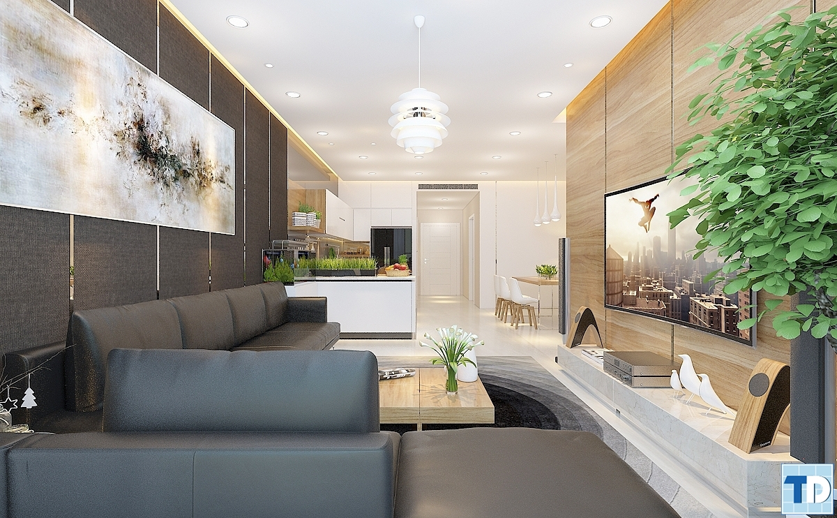 Không gian phòng khách và phòng ăn liên thông với nhau vô cùng thông thoáng