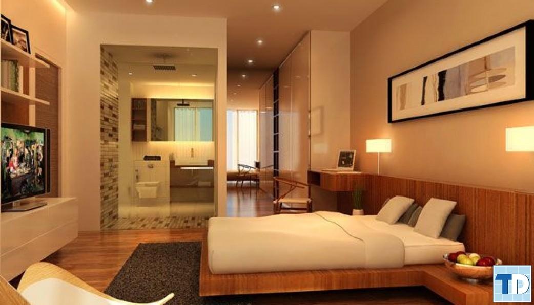 Phòng ngủ nội thất gỗ giản đơn mộc mạc