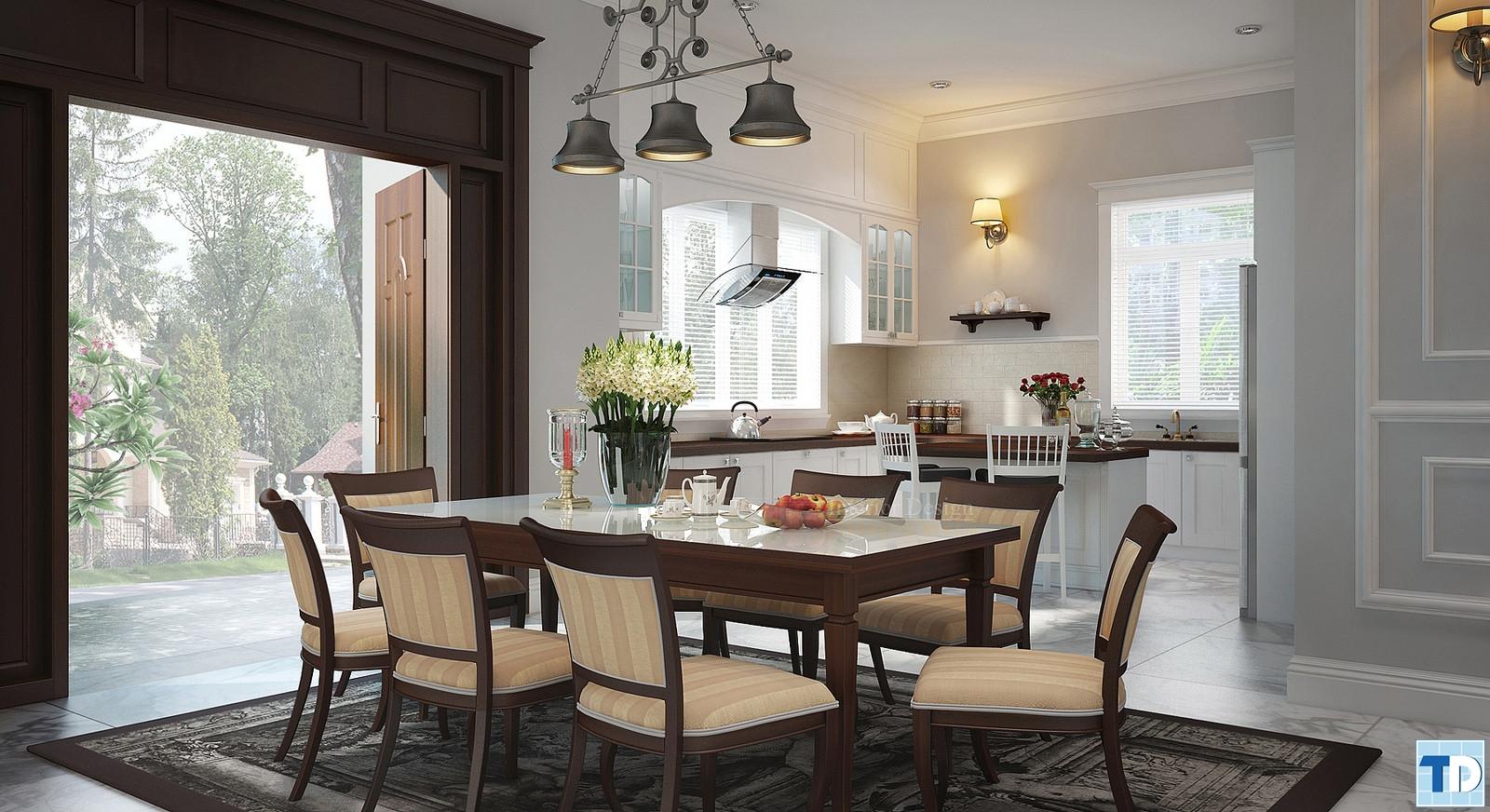 Phòng ăn và bếp tân cổ điển đơn giản