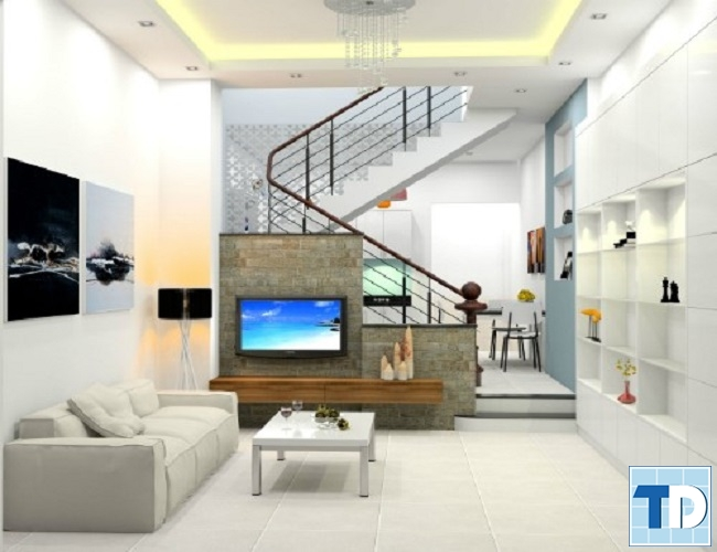 Không gian phòng khách hiện đại nhà 2 tầng