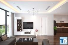 Phong cách gỗ óc chó thiết kế nội thất chung cư mandarin garden