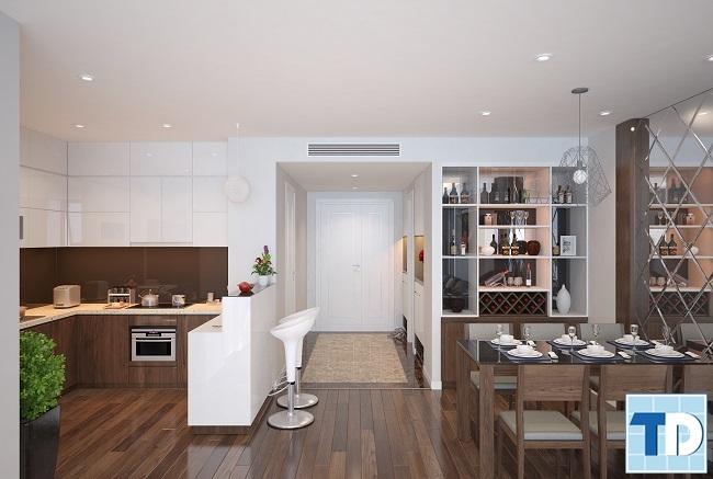 Phòng bếp hiện đại, bàn ăn gỗ mộc mạc lịch lãm