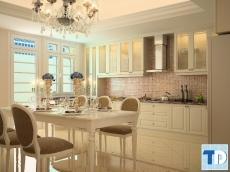 Không gian kiến trúc tân cổ điển đẹp phòng khách liền kề phòng bếp
