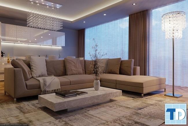 Nội thất phòng khách pha trộn các phong cách