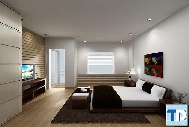 Phòng ngủ đen trắng tương phản