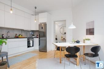 Thiết kế nội thất căn hộ chung cư nhỏ liên thông phòng bếp tiện nghi